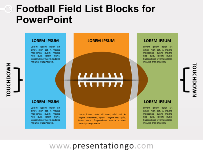 Free Football Field List Blocks for PowerPoint
