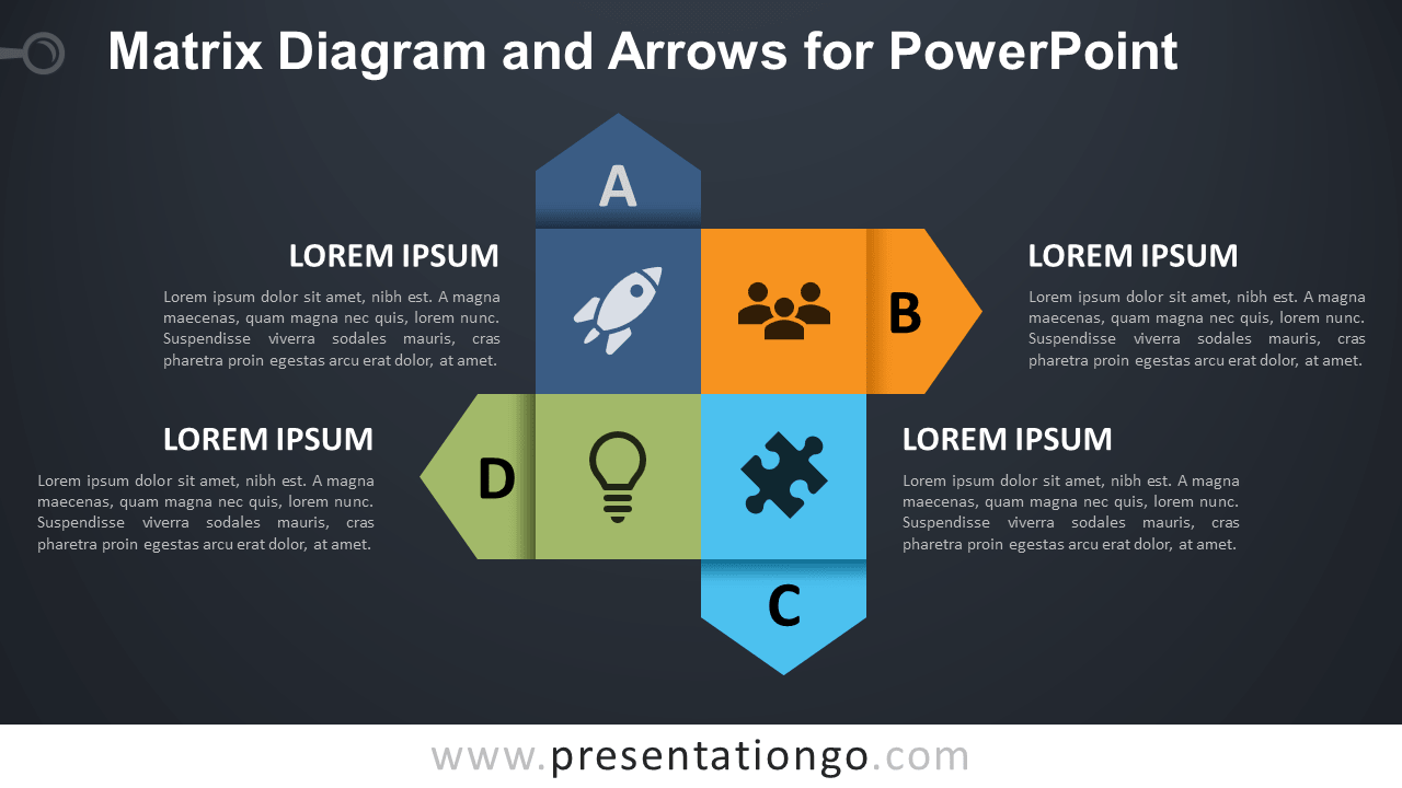 Free Matrix Diagram and Arrows for PowerPoint - Dark Background