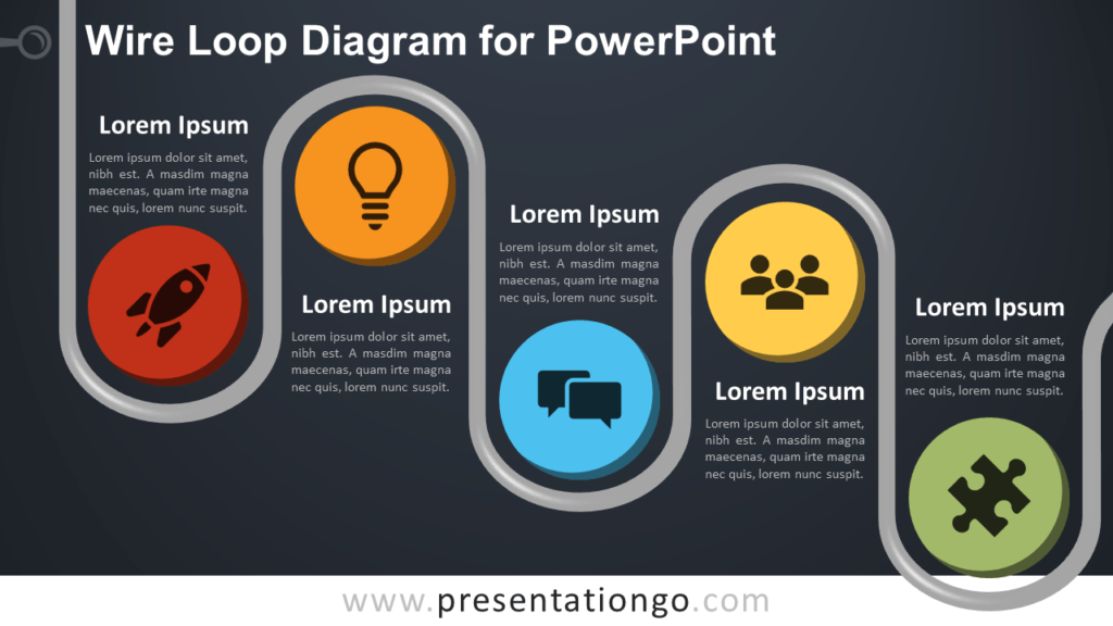 Free Wire Loop Diagram for PowerPoint - Dark Background