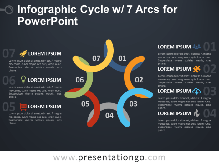 Free Infographic Cycle with 7 Arcs for PowerPoint - Dark Background