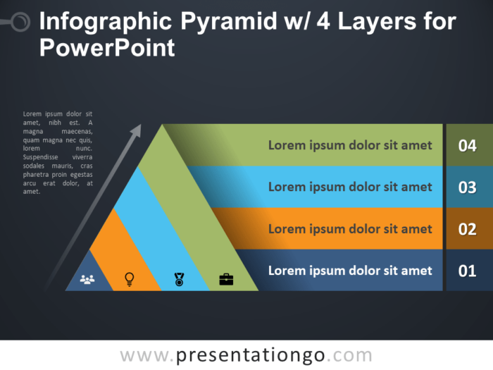 Free Infographic Pyramid with 4 Layers for PowerPoint - Dark Background