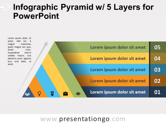 Free Infographic Pyramid with 5 Layers for PowerPoint