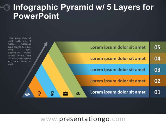 Free Infographic Pyramid with 5 Layers for PowerPoint - Dark Background