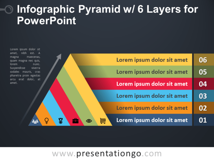 Free Infographic Pyramid with 6 Layers for PowerPoint - Dark Background