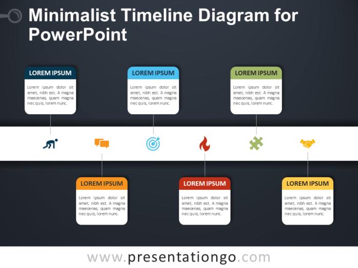 Free Minimalist Timeline Diagram for PowerPoint - Dark Background