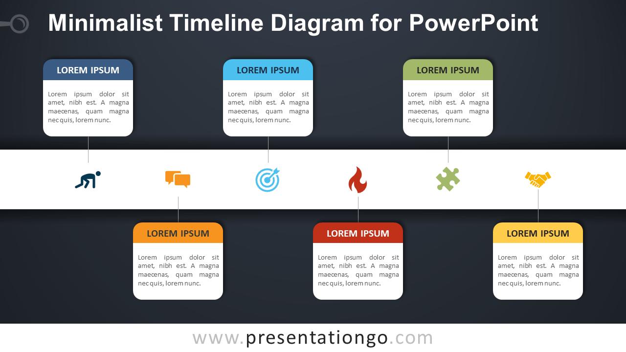 Free Minimalist Timeline for PowerPoint - Dark Background