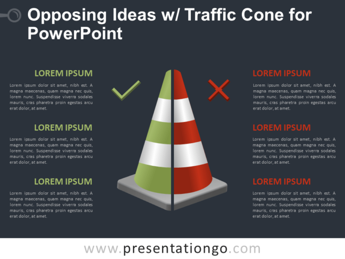 Free Opposing Ideas with Traffic Cone for PowerPoint - Dark Background