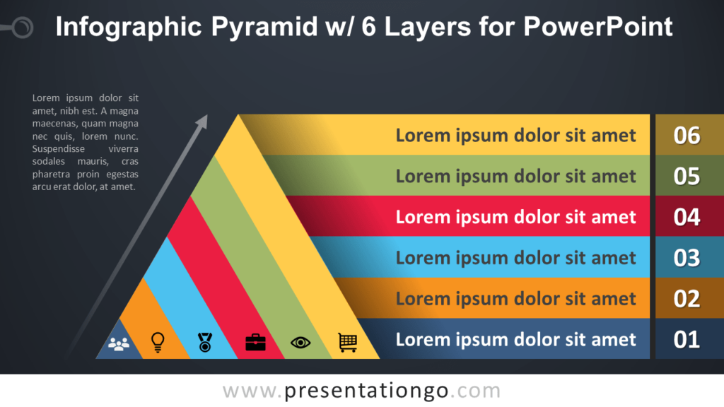 Free Pyramid with 6 Layers for PowerPoint - Dark Background
