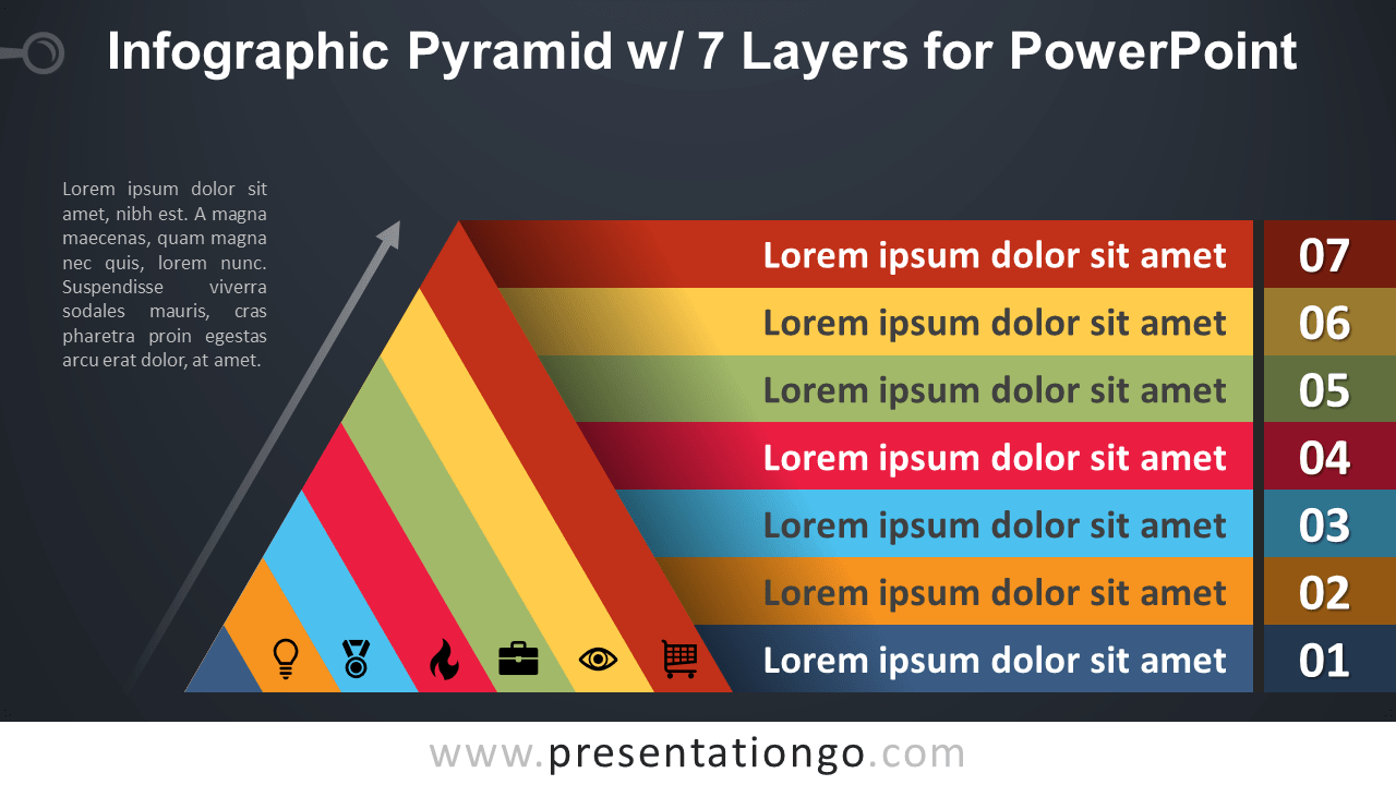 Free Pyramid with 7 Layers for PowerPoint - Dark Background