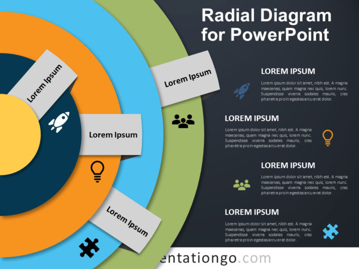 Free Radial Diagram for PowerPoint - Dark Background