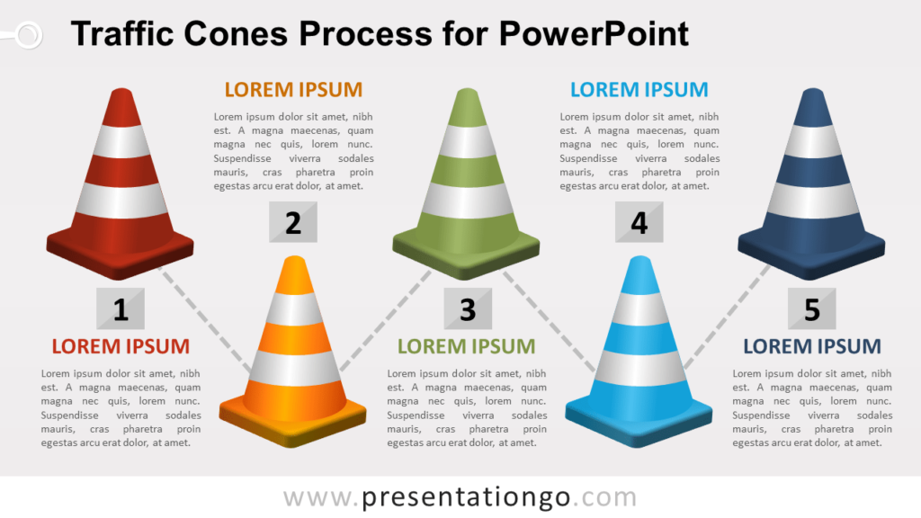 Free Traffic Cones Process Diagram for PowerPoint