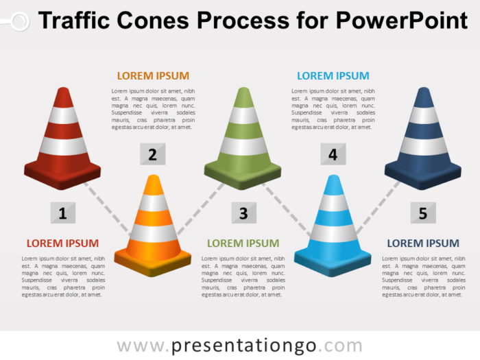 Free Traffic Cones Process for PowerPoint