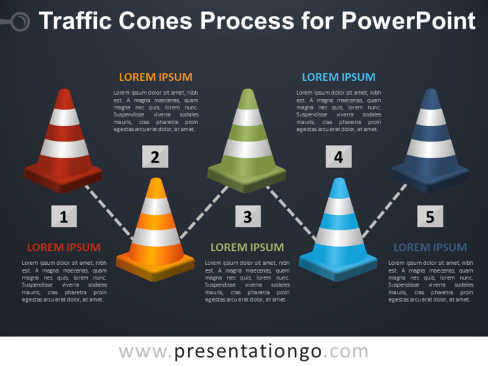 Free Traffic Cones Process for PowerPoint - Dark Background