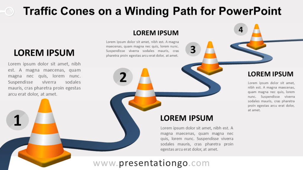 Free Traffic Cones on a Winding Path Template for PowerPoint