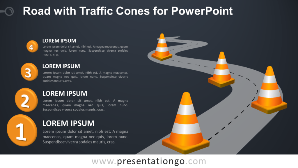 Free Winding Road with Traffic Cones for PowerPoint - Dark Background
