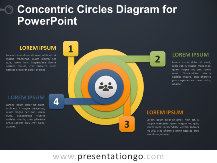 Free Concentric Circles Diagram for PowerPoint - Dark Background