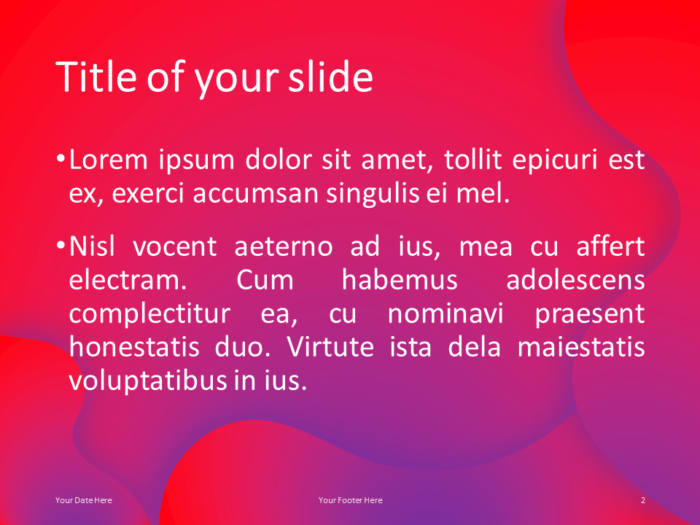 Free Fluids PowerPoint Template (Pink-Purple) - Title and Content Layout