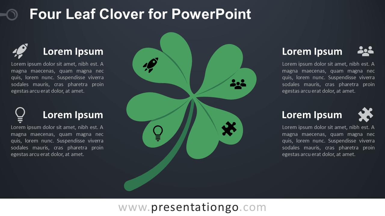 Four-Leaf Clover PowerPoint Template - Dark Background