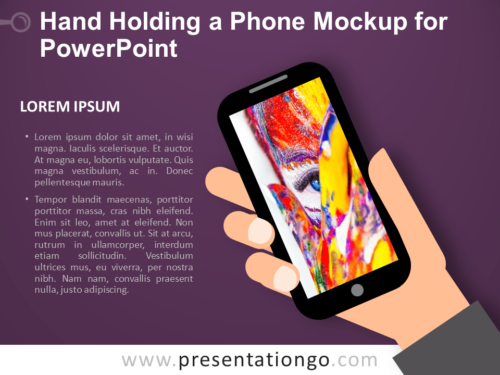 Free Hand Holding a Phone Mockup for PowerPoint - Dark Background