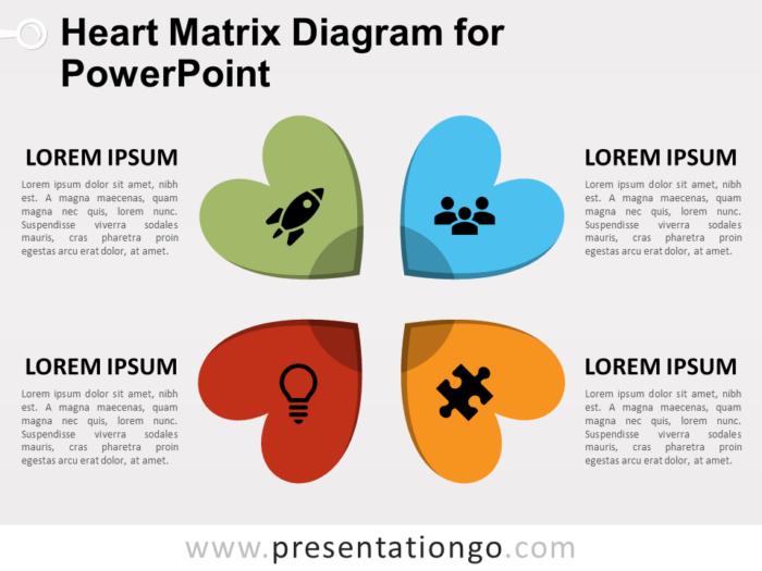 Free Heart Matrix Diagram for PowerPoint
