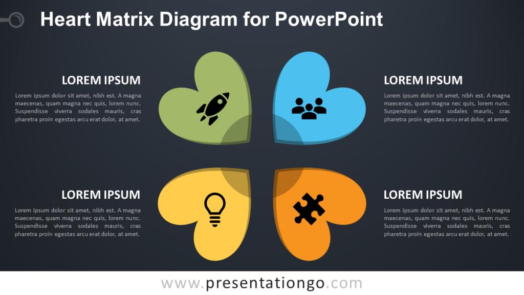 Free Heart Matrix for PowerPoint - Dark Background