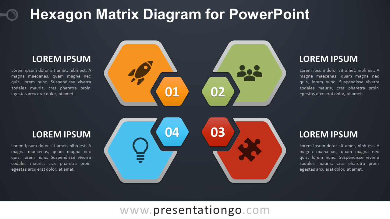Free Hexagon Matrix for PowerPoint - Dark Background