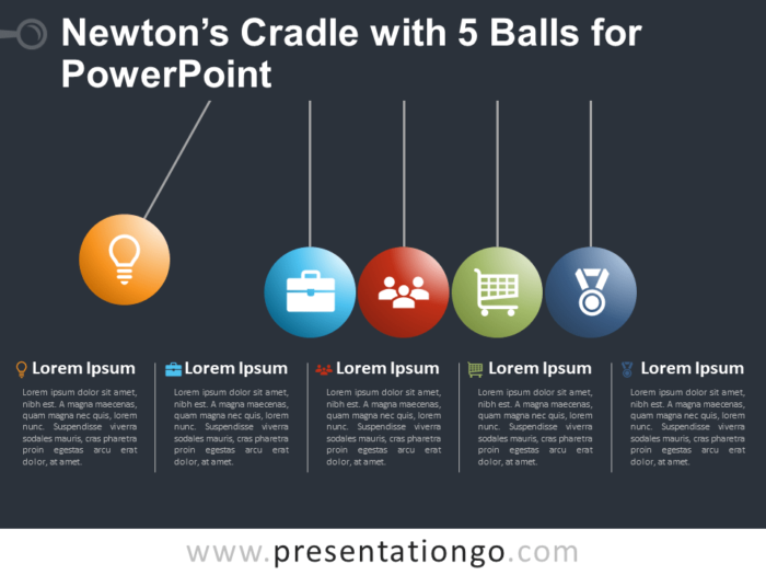 Free Newton's Cradle with 5 Balls for PowerPoint - Dark Background
