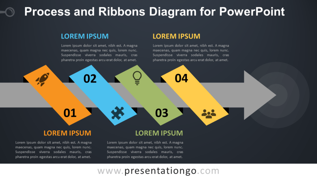 Free Process with Ribbon and Arrow for PowerPoint - Dark Background