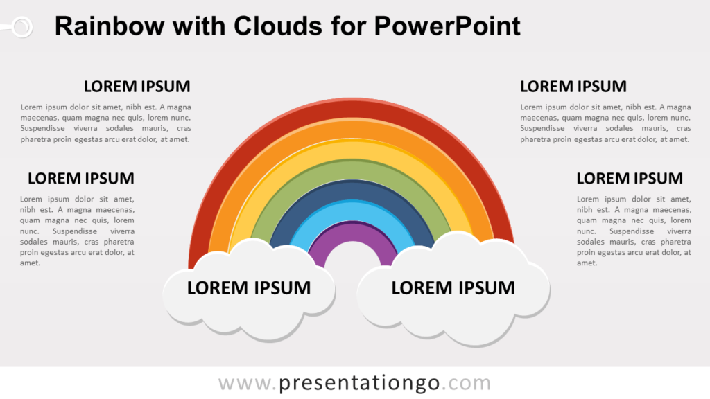 Free Rainbow with 2 Clouds for PowerPoint