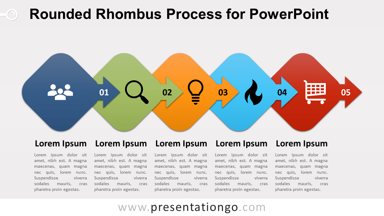 Free Rounded Rhombus Process Diagram for PowerPoint