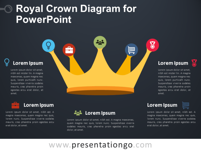 Free Royal Crown Diagram for PowerPoint - Dark Background