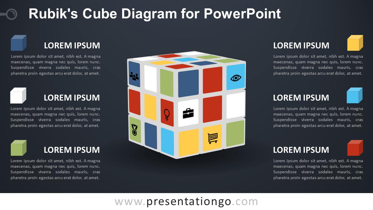 Free Rubik's Cube for PowerPoint - Dark Background