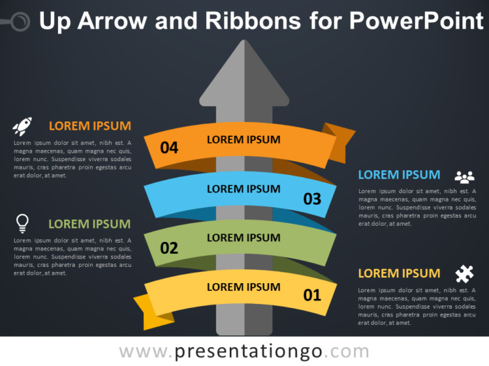 Up-Arrow and Ribbons for PowerPoint - Dark Background