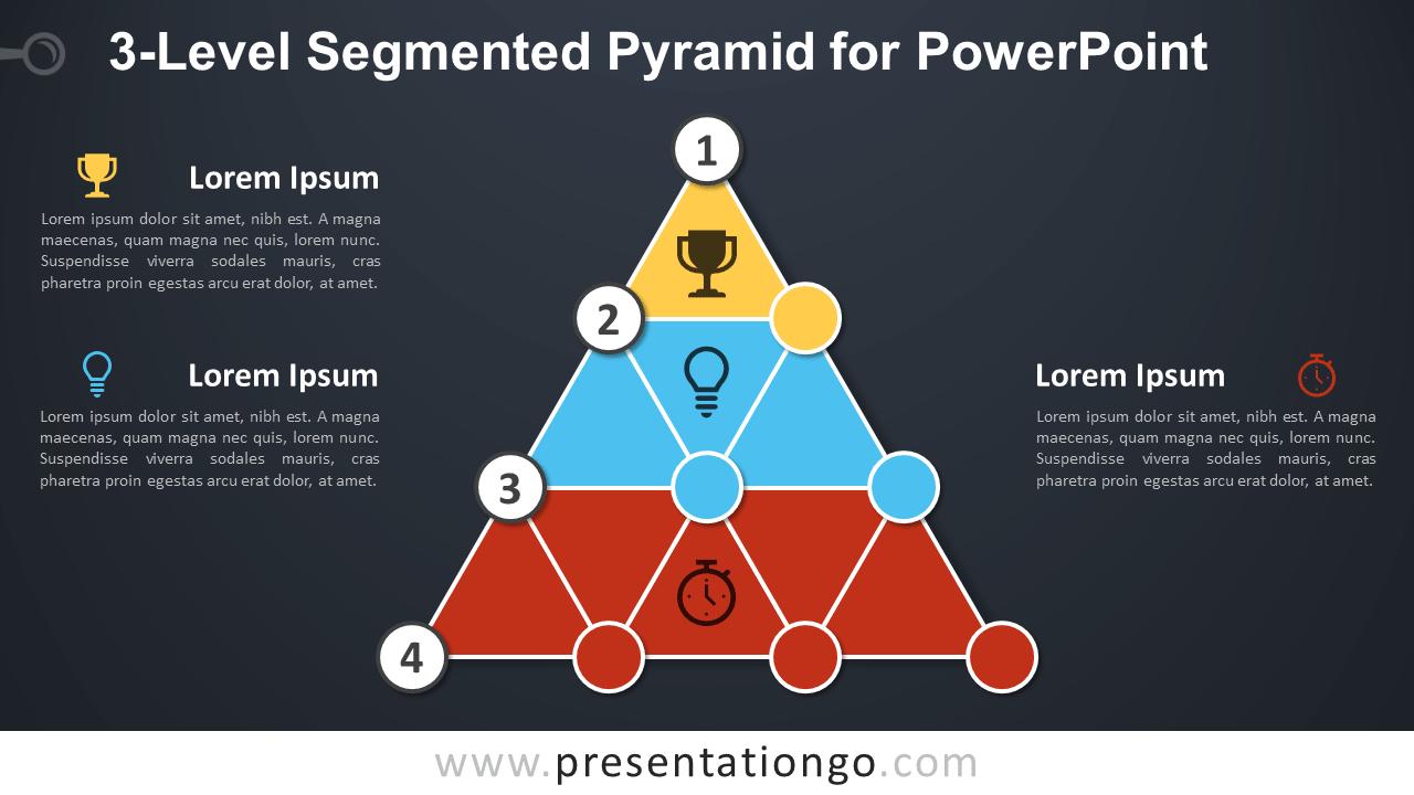 3-Level Segmented Pyramid for PowerPoint - Dark Background
