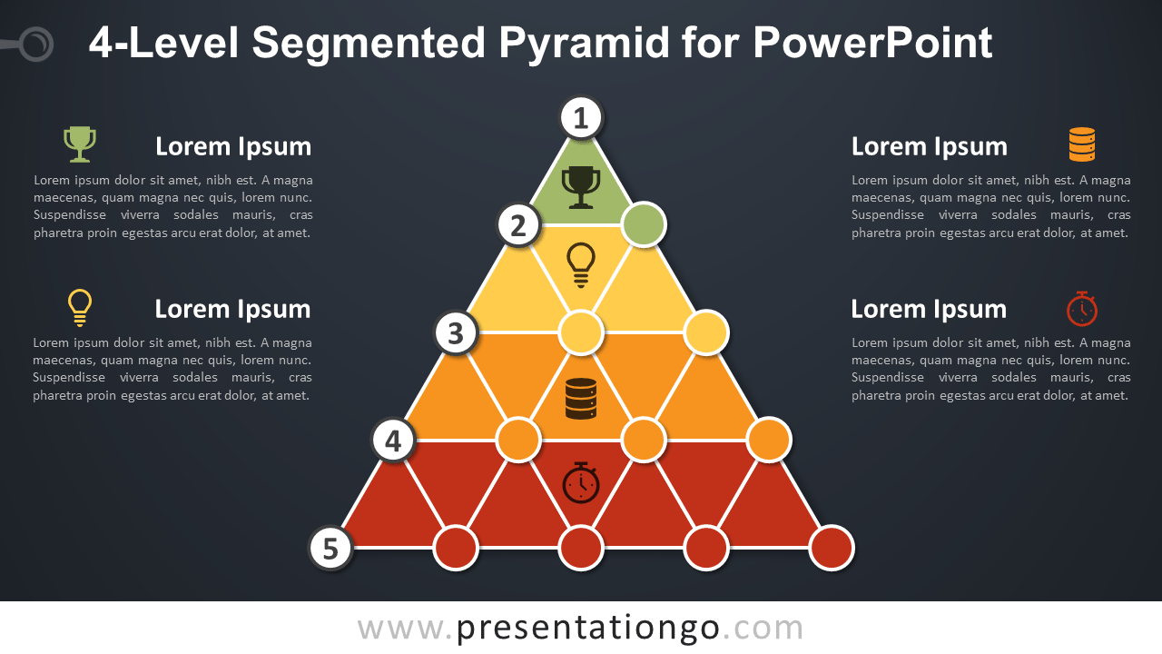 4-Level Segmented Pyramid for PowerPoint - Dark Background