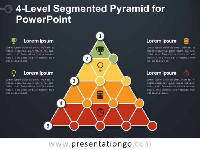 Free 4-Level Segmented Pyramid for PowerPoint - Dark Background