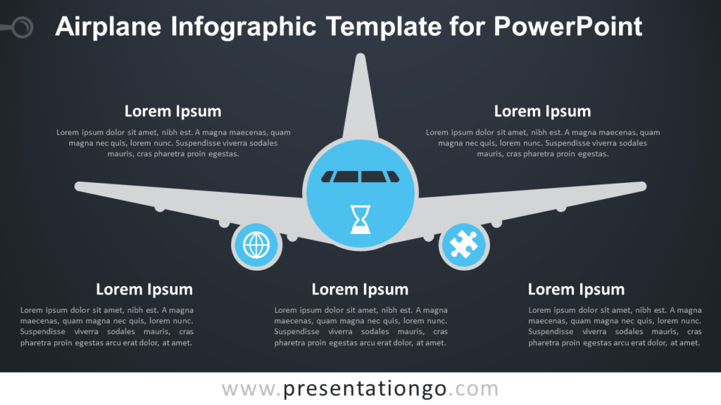 Free Airplane Infographics for PowerPoint - Dark Background
