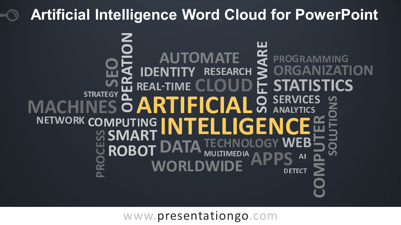 Free Artificial Intelligence (AI) Word Cloud for PowerPoint - Dark Background