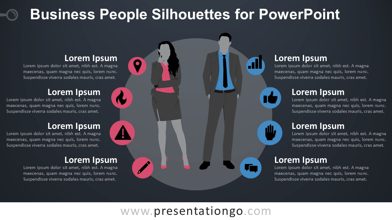 Free Businesswoman and Businessman Silhouettes for PowerPoint - Dark Background