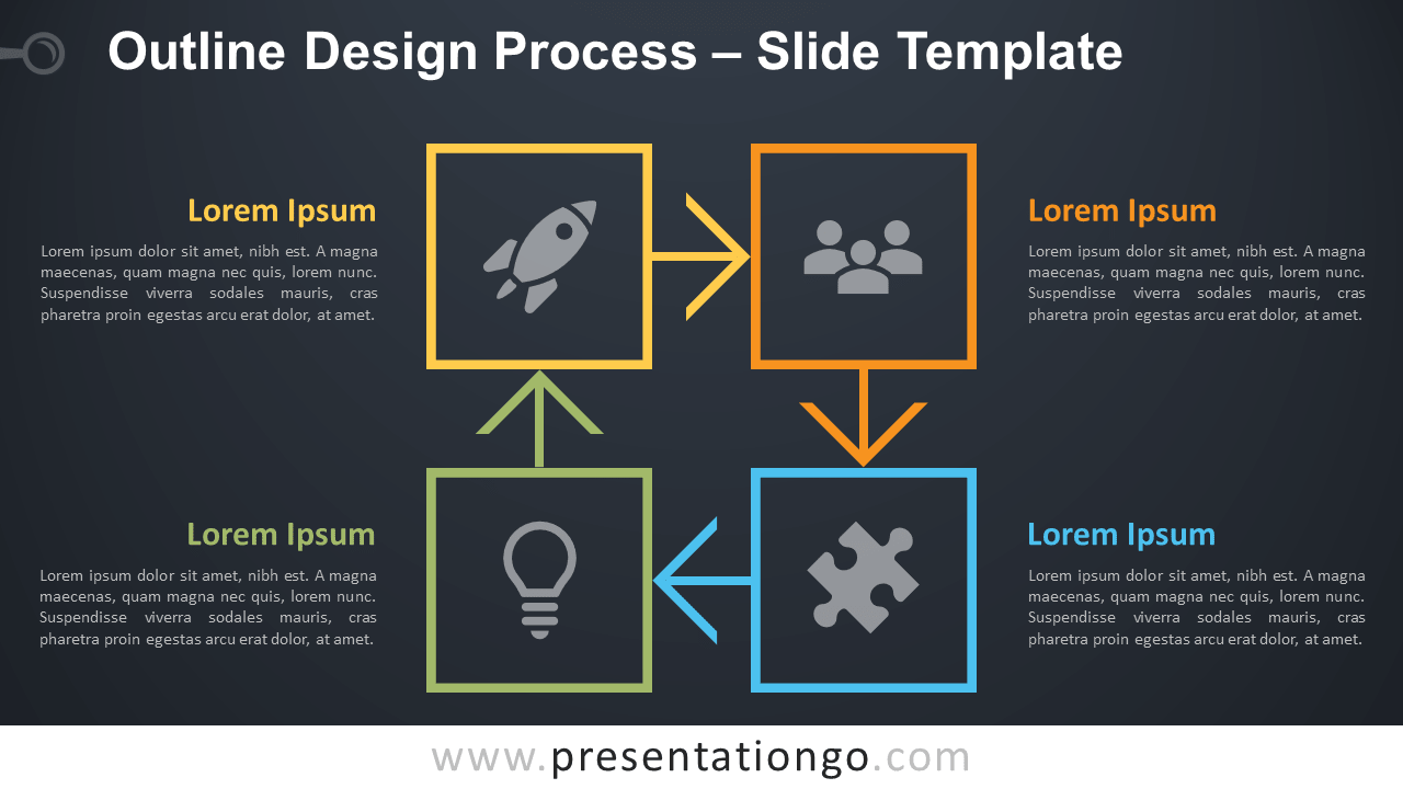 Free Outline Cycle Process Diagram for PowerPoint and Google Slides