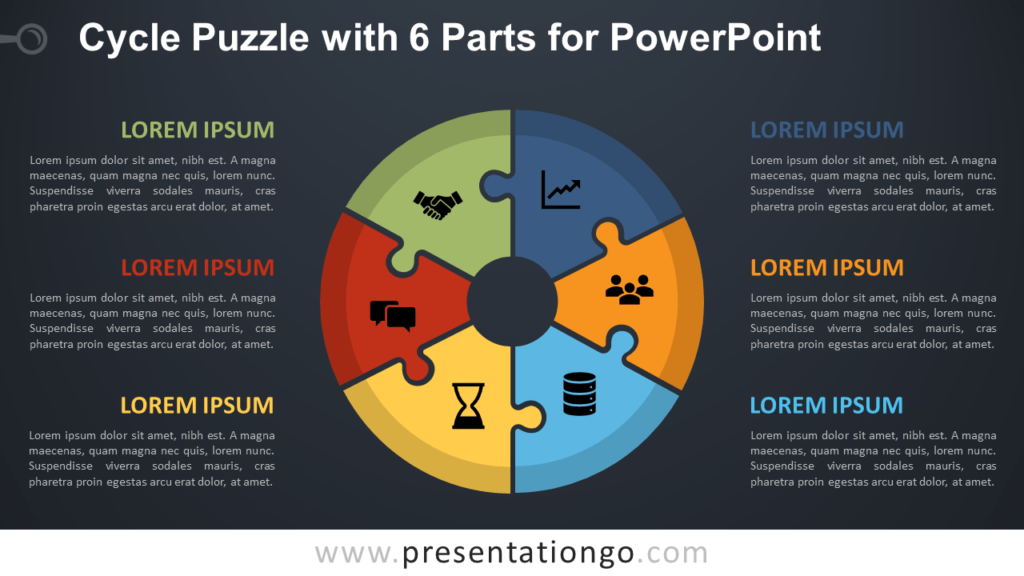 Free Cycle Puzzle with 6 Parts for PowerPoint - Dark Background