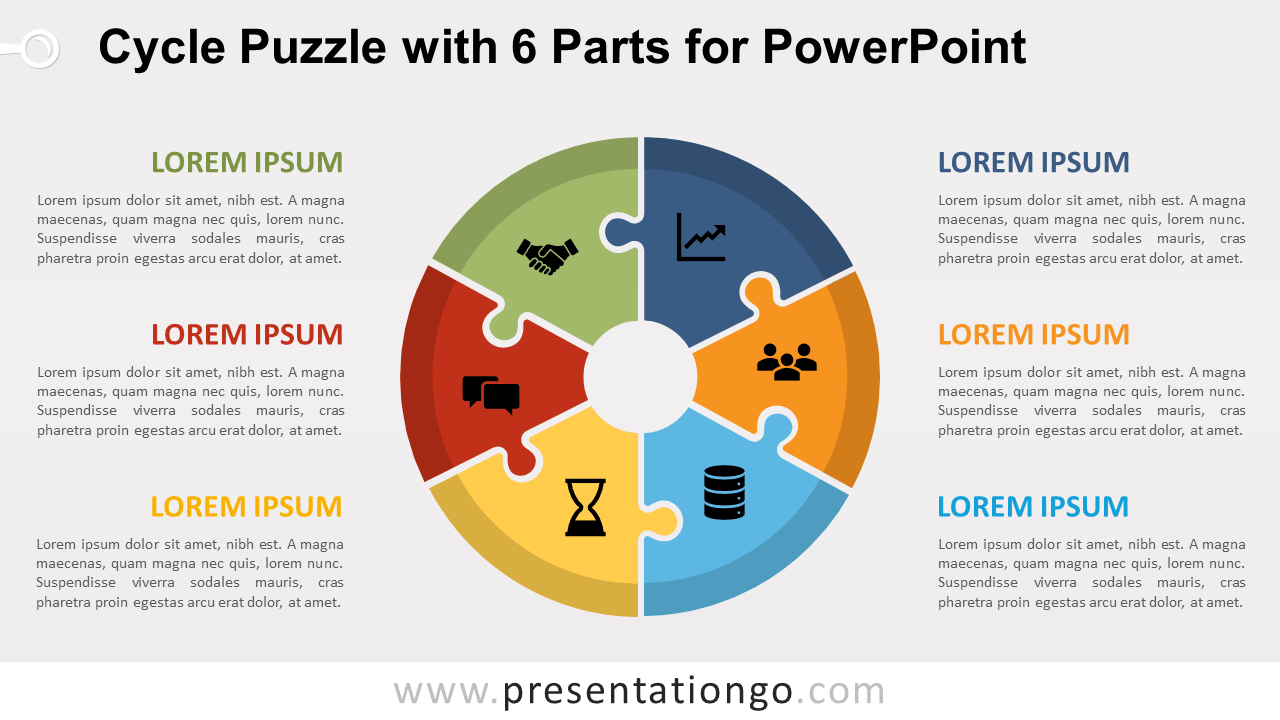 Free Cycle Puzzle with 6 Parts for PowerPoint