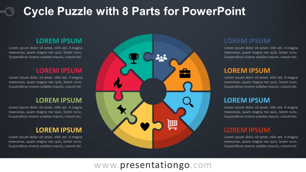 Free Cycle Puzzle with 8 Parts for PowerPoint - Dark Background