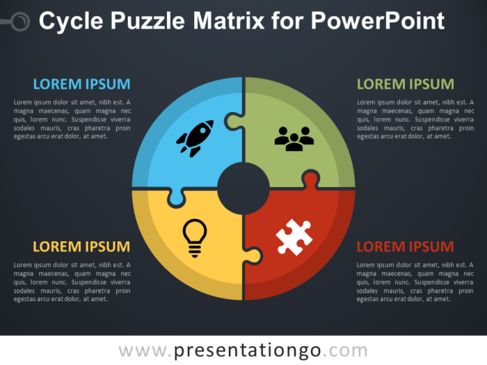 Free Cycle Puzzle Matrix for PowerPoint - Dark Background