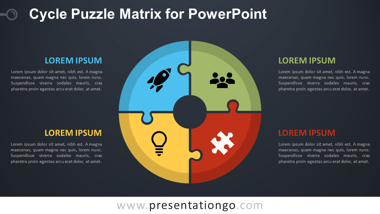 Free Cycle Puzzle for PowerPoint - Dark Background