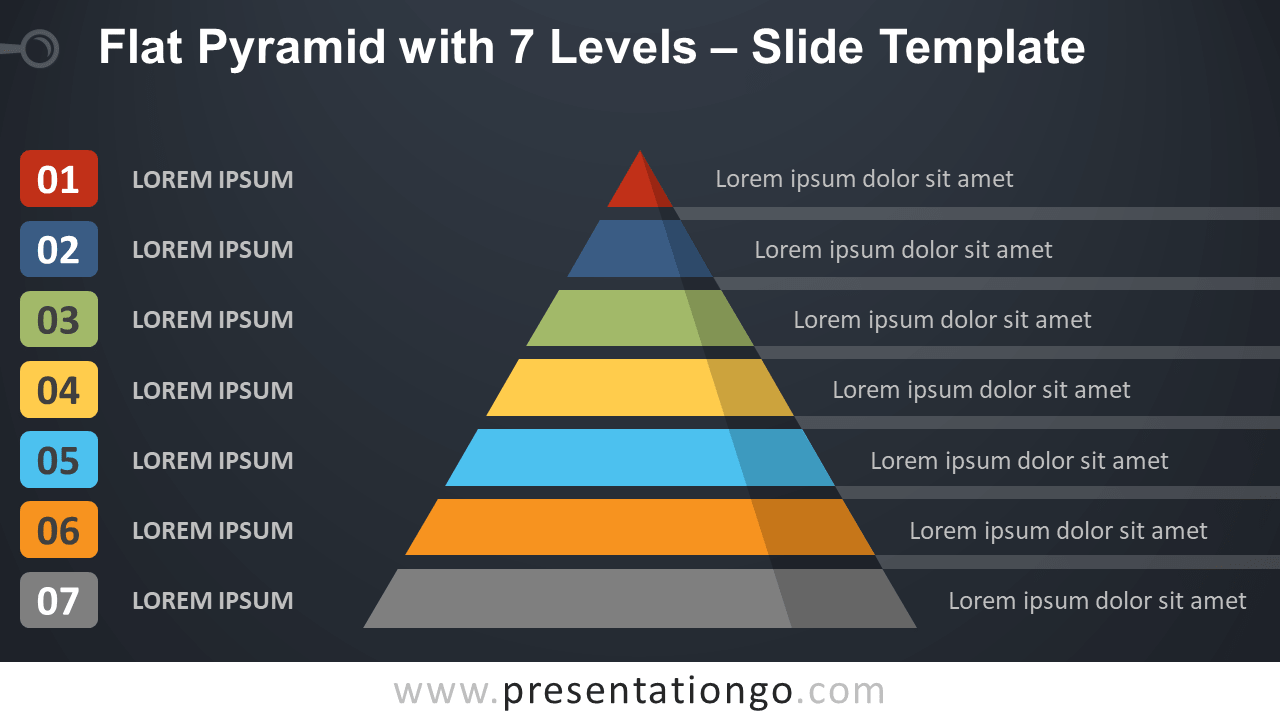 Free Flat Pyramid with 7 Levels Template Presentation