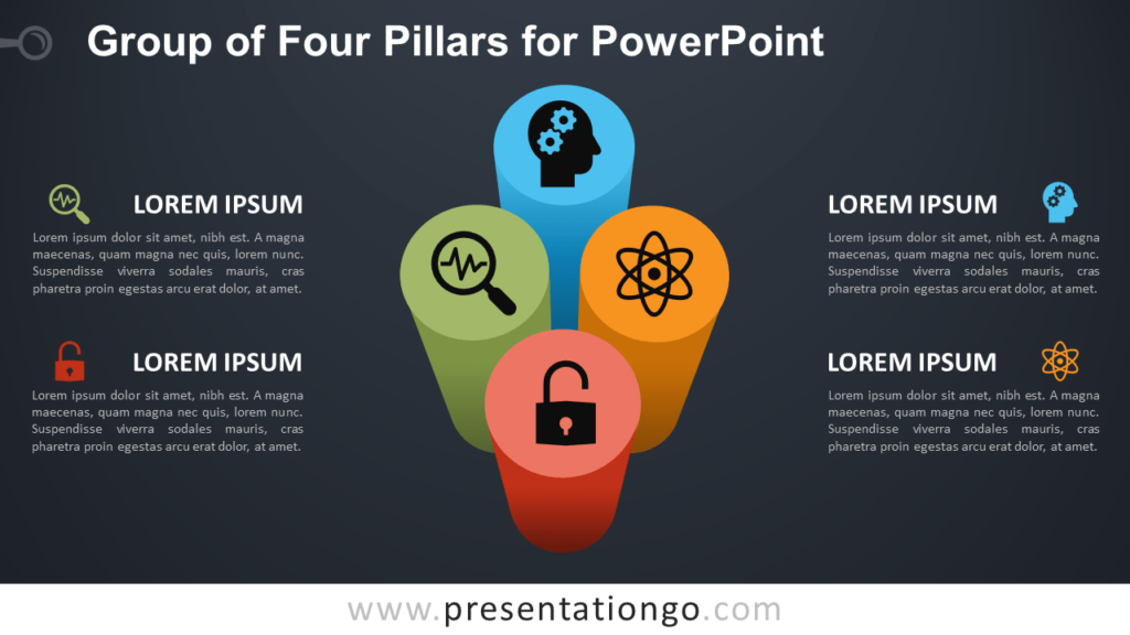 Free Group of 4 Pillars for PowerPoint - Dark Background