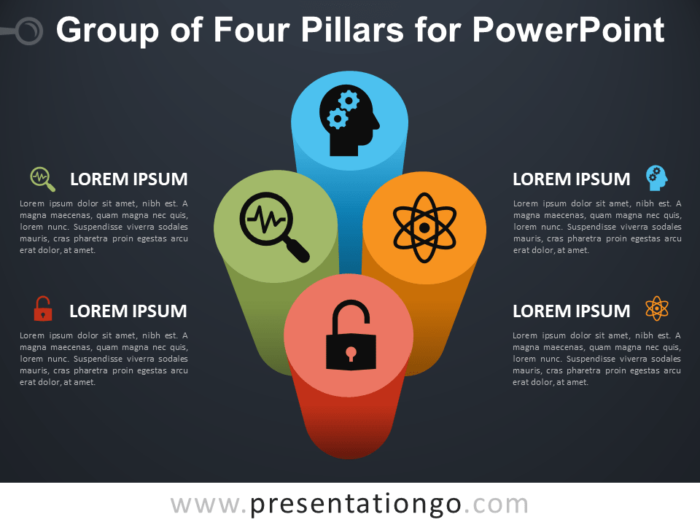 Free Group of Four Pillars for PowerPoint - Dark Background
