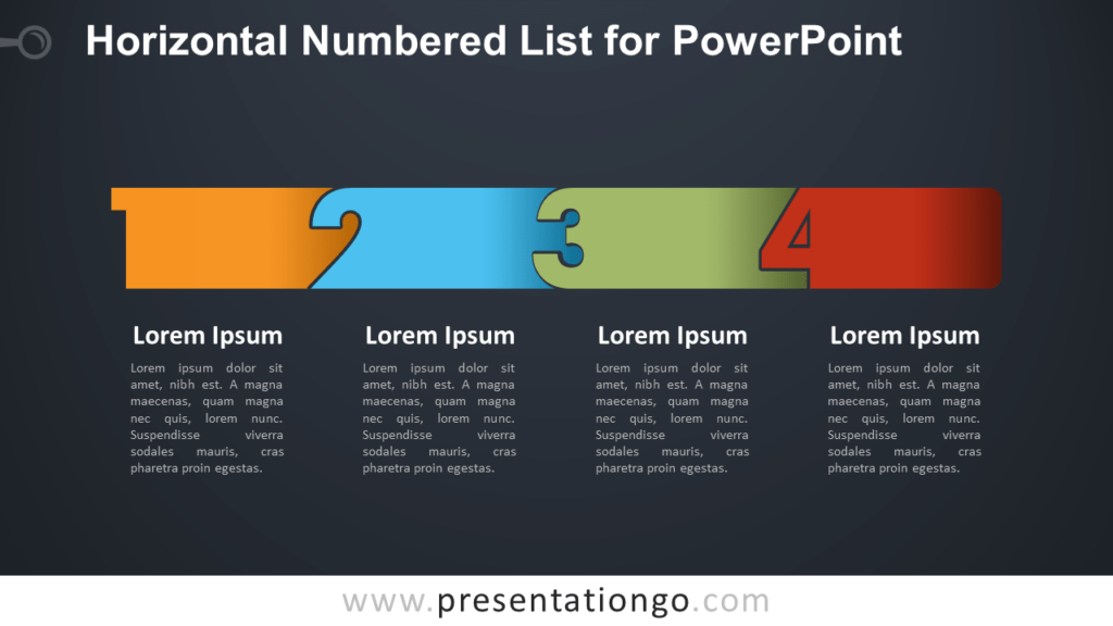 Free Horizontal List with Numbers for PowerPoint - Dark Background
