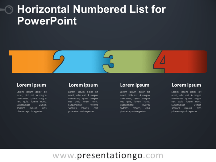 Free Horizontal Numbered List for PowerPoint - Dark Background